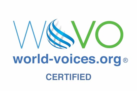 WOVO World Voices Certified Logo